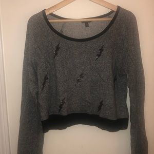 Cropped Long Sleeve with Sequin Bolts